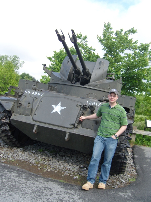 Hubby in front of tank
